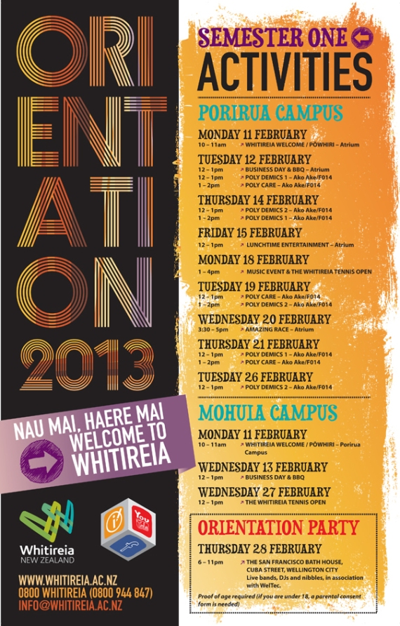 This is a poster listing events on Porirua Campus for orientation 2013