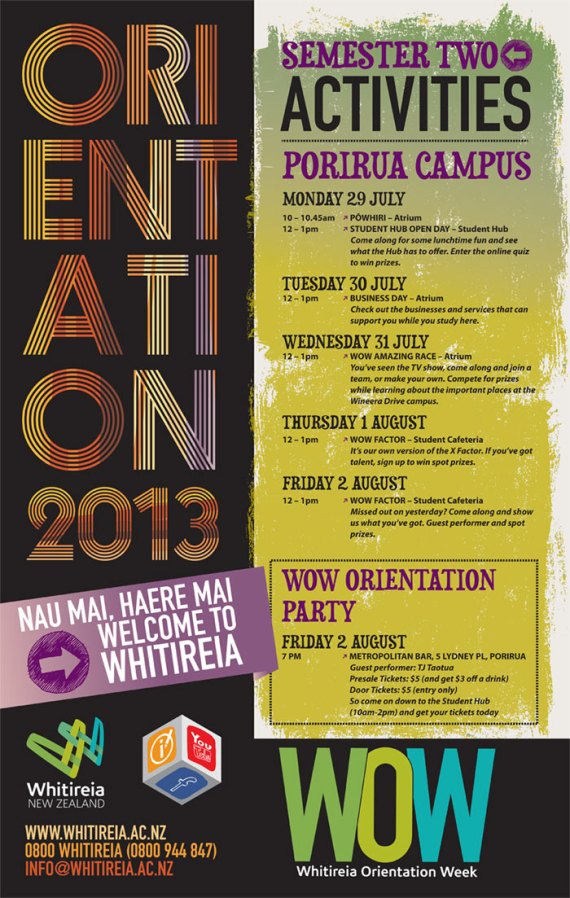 Orientation events at Porirua Campus July 2013